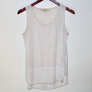 Loft Leopard Animal Print Cream White Tank